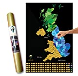 Global Walkabout Scratch Off UK Map with colours background - Deluxe Travel Size UK Map Poster - Countries and Facts - Travel Gift (Black)