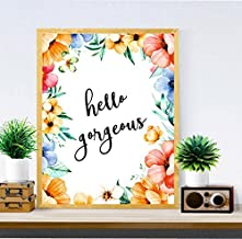 Hello Gorgeous Print Art - Office Decor - Printable Wall Art - Home Decor - gifts for women - Inspirational, Boss Lady, Girl Boss - Motivational Quote - Bedroom Print#WP-78