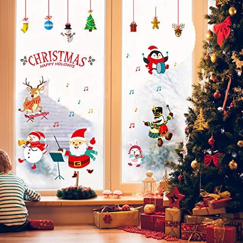 Pegatinas Navidad para Ventanas, Pegatinas de Navidad, Pegatina Copo de Nieve,Decoración de Navidad para Ventana/Puerta de Casa y Tienda (Pegatinas Navidad-3)