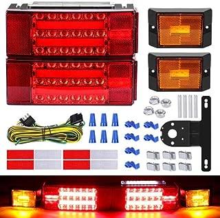 Kawell Upgrade 12V Submersible Rectangular LED Trailer Light Kit, Low Profile Brake Stop Turn Tail License Lights for Truck Marine RV Boat Camper Trailer Snowmobile
