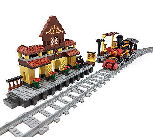 Modbrix Bausteine Zug Set mit Bahnhof, Eisenbahn, Bahnsteig und Schienenset, Konstruktionsspielzeug