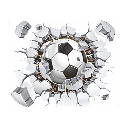 Dosige 1pcs Wandaufkleber Wandtattoo Wandsticker 3D Fußball Muster Wall Stickers Removable Mural Decals Art Living Room