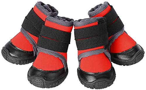 Petilleur Breathable Dog Hiking Shoes for Hot, Ice & Sharp Pavement Pet Paws Protector Anti-Skid Dog Boots Durable Pet Sneakers for Outdoor Activities (Red, S)