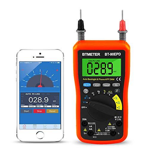 BTMETER Digital Multimeter, Multimeter Bluetooth,BT-90EPD Advanced Multimeter mit 4000 Counts, Diodentest, Automatische Bereichsauswahl,Temperaturmessung, Hintergrundbeleuchtung,Batterietest(Orange)