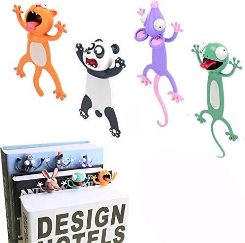 4 Pcs 3D Cartoon Animal Bookmark,Wacky Bookmark Palz - More Fun Reading,Novelty Funny Animals Reading Bookmark Cute Bookmarks Squashed Animals Stationery (Cat+Panda+Mouse+Gecko)