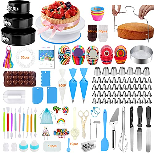 Cake Decorating Supplies, 507 PCS Cake Decorating Kit 3 Packs Springform Cake Pans, Cake Rotating Turntable, 48 Piping Icing Tips, 7 Russian Nozzles, Chocolate Mold Baking Supplies, cake Baking Tools