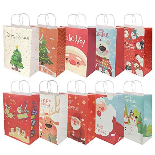 RIOGOO 10 PCS Bolsas de regalo de Navidad, Bolsas al por menor Bolsas de papel para fiestas Bolsa Kraft con asa para Navidad, cumpleaños, fiesta de té, bodas y celebraciones de fiestas