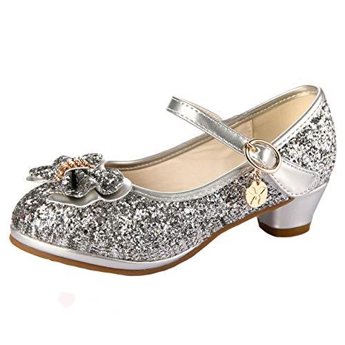 YOSICIL Sandalias Zapatos de Lentejuelas con Mariposa para Niña Zapatos De Tacón Alto de Princesa Zapatillas de Baile Disfraz de Princesa Zapatos de Vestir para Fiesta Boda Cumpleanos EU26-38