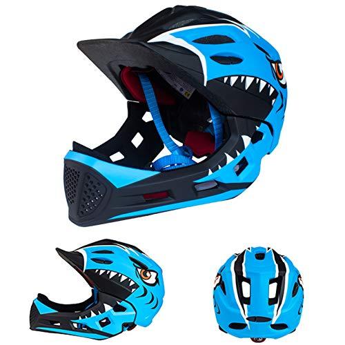 QYTK Kinder Fahrrad Integralhelm Fahrradhelm Abnehmbarem Kinnschutz für Junge Mädchen Kopfumfang Größe 48-54cm, Kinderhelm für Mountainbike Sicherheit Rollerhelm (schwarz, Blau)