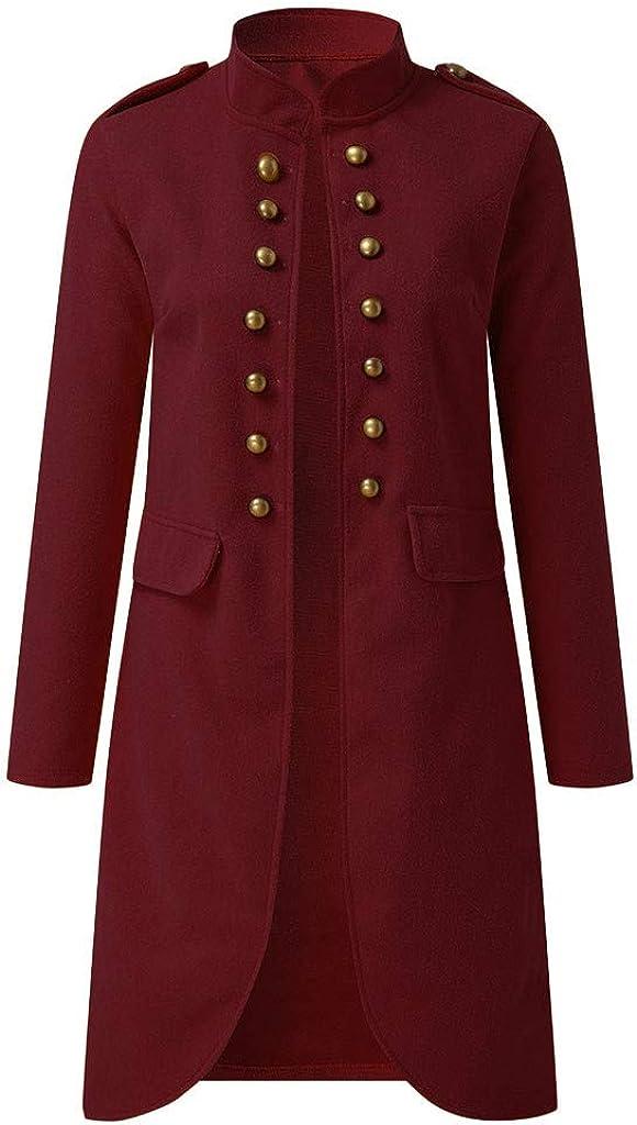 aihihe Plus Size Vintage Coats Jackets for Women Long Coat Double Breasted Flare Windbreaker Outwear Warm Winter Wine