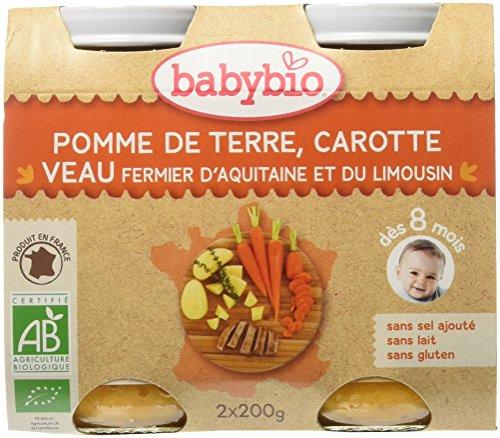 Babybio Pots Pomme de Terre Carotte/Veau d'Aquitaine/du Limousin 400 g - Lot de 6