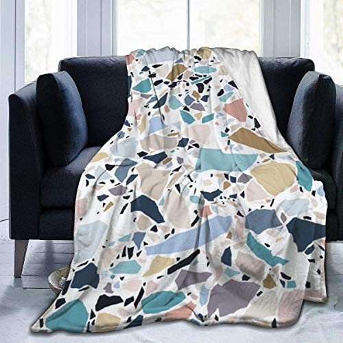 Allures Pastel Terrazzo Throw Blanket Soft Flannel Fleece Blanket for Couch,Bed,Sofa,Chair Office,Travel,Camping,Modern Decorative Warm Blanket60*50