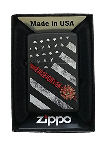 Zippo Custom Lighter - Red Line Firefighter USA Flag & Support - Black Matte - Gifts for Him, for Her, for Boys, for Girls, for Husband, for Wife, for Them, for Men, for Women, for Kids