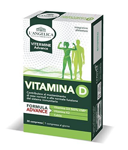L Angelica Integratore Vitamina D a Base di Vitamina D3, Con Vitamina K2 e Calcio, Favorisce il Mantenimento di Ossa Sane, Vegetariano, senza Glutine, senza Lattosio; Formato: 30 compresse