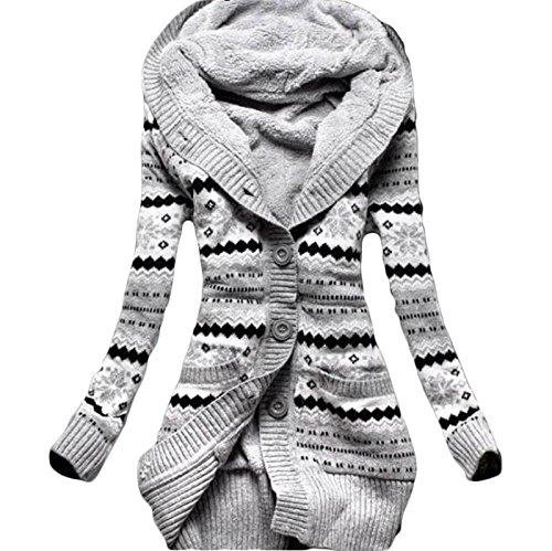 Daman Mit Kapuze langen loose gestreift Warm Abschnitt sowie dicke Samt Gestrickt knopf Strickjacke outwear Mäntel Tunika Parka hoodie Tuniken Kapuzenpullis Kapuzenpullover Kapuzenjacke (EU(46)(XXXL))