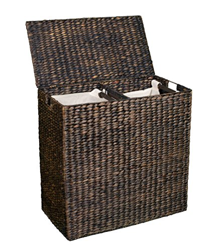BIRDROCK HOME Double Laundry Hamper with Lid and Divided Interior (Espresso) - Decorative - Hand Woven Water Hyacinth Fibers - Two Removable Liners Bag - Dual Dark Wicker Basket