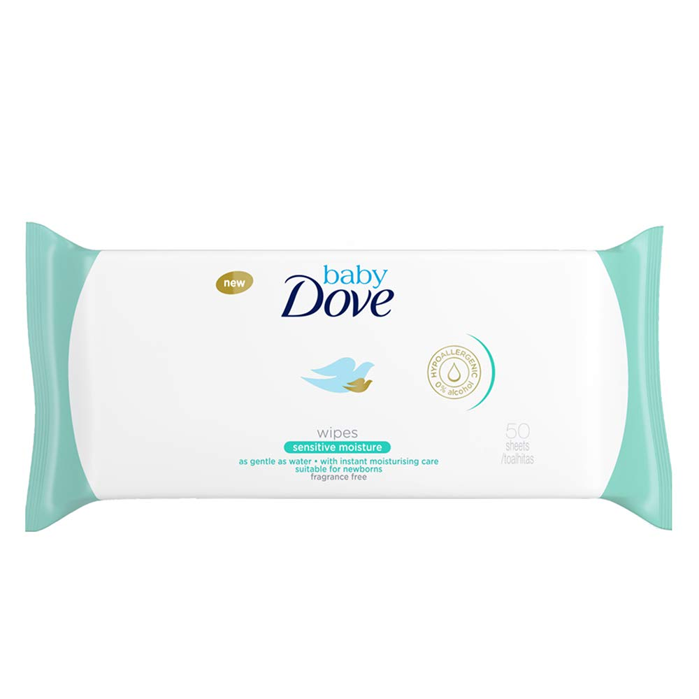 Sensitive Moisture Pack of 3 Dove Baby Wipes 50 Wipes