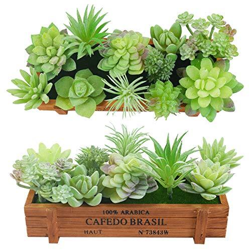 11 pezzi artificiali succulente affolla piante assortite falso succulente steli finto floreale per la decorazione del loto decorazione casa giardino arredamento, con vaso di fiori in legno