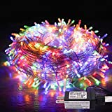 JMEXSUSS 33ft 100 LED Christmas Lights Multicolor Indoor String Lights 8 Modes Christmas Tree Lights Outdoor Waterproof for Holiday Patio Party Wall Home Decoration