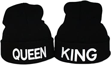 MIUNIKO 2PCS Fashion King and Queen Skullies Hood Winter Warm Caps Sport Beanie Hats for Couples