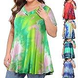 Bsemax 2021 - Camiseta de mujer elegante cuello en V Tie-Dye de manga corta, camiseta deportiva para mujer para verano y otoño, elegante vestido para mujer, cuello en V, morado, XXXXL