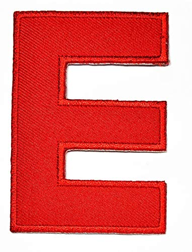 3 INCHES English Letter E Red Patch Iron On Patches Novelty Letter from A to Z Embroidered Patch Sew On Alphabet Applique Patches for Hats, Jackets, Shirts, Vests, Jeans Stickers Badge Costume (E)