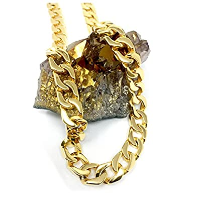 Gold Cuban Link Chain Necklace for Men Real 14MM 14K Karat Diamond Cut Heavy w Solid Thick Clasp US MADE