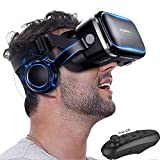 VR Headset Glasses, 3D Virtual Reality Headset with Headphones[HiFi] for iOS Android PC Cellphone 3D IMAX Movie Video Game Viewer, VR Goggles for iPhone X 8 7 6S 6 Plus, Samsung S8 S7 S6 Edge S5 etc