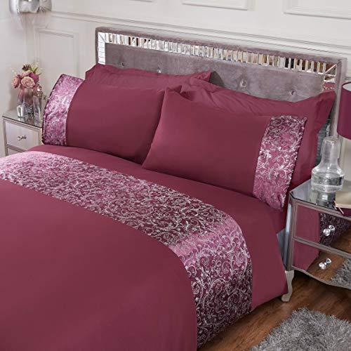 Sleepdown Foil Printed Velvet Cuff Panel Band Duvet Cover Set Pillowcases Quilt Bedding - Plum - Double (200cm x 200cm)