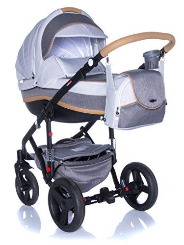 Adamex Vicco R12- Landau bébé,Siège Auto Poussette Version promenade Système 3en1, protection pluie, moustiquaire,