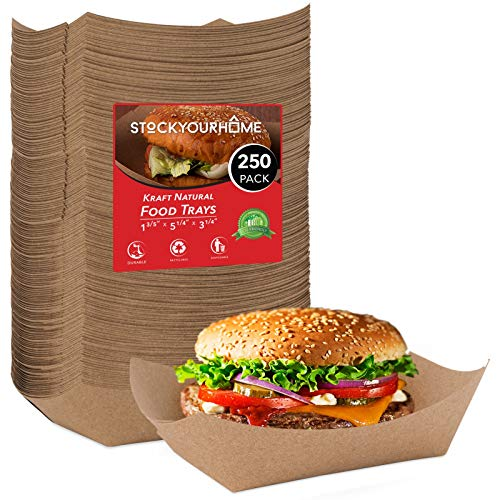 Paper Food Boats 250 Pack Disposable Brown Tray 3 Lb - Eco Friendly Brown Paper Food Trays 5 x 3 – Serving Boats for Concession Stand Food