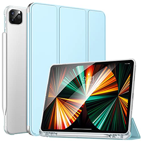 MoKo Custodia Protettiva per Tablet iPad Pro 12.9 2021, Case in TPU con Supporto Integrato, Avvio / Arresto Auto, Accessori per Tablet, Protezione Urti, Graffi, Cover per iPad Pro 12.9 2021, Cielo Blu