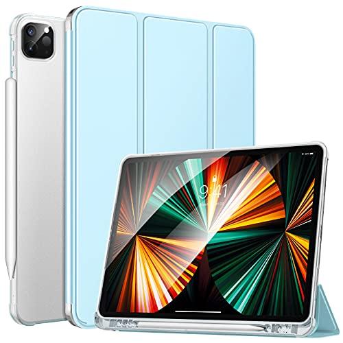 MoKo Hülle Kompatibel mit iPad Pro 12.9 2021, Smart Hülle Ständer Schutzhülle Cover mit Transluzent TPU Rückseite & Stifthalter Kompatibel mit iPad Pro 12.9 2021, Himmelblau
