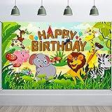 HOWAF Happy Birthday Pancarta para Selva Animal Cumpleaños Fiesta Decoración de Niño Chico, Bosque Safari Cumpleaños Decoración para Pared Fondo Fotografía, 6 x 3,6 Pies, Tejido Cumpleaños Pancarta