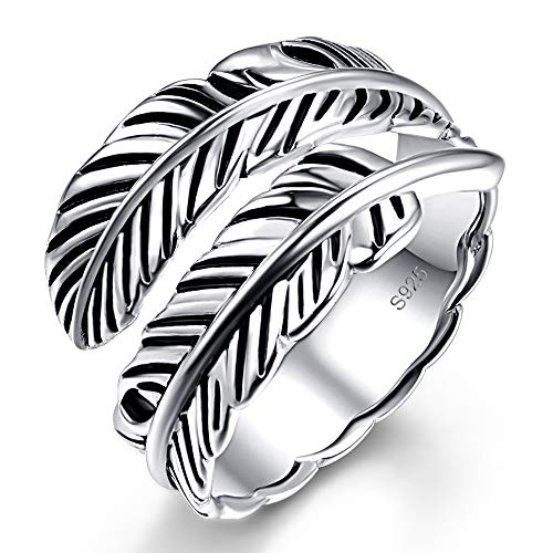 AVECON 925 Sterling Silver Adjustable Feather Ring Vintage Statement Leaf Ring for Women Men
