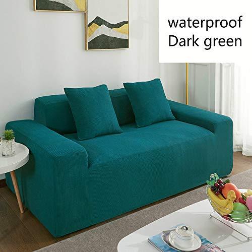 WYSTLDR Nordic Home Universal einfarbige wasserdichte Sofabezug, rutschfestes Haustier Sofa Kissen, Vier Jahreszeiten Wohnzimmer Sofa Handtuch Green1-Seat 90-140cm