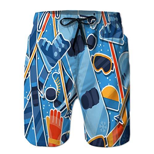 Xunulyn Troncos de natación para Hombre Cintura elástica Trajes de baño Deportes de Invierno Patrón sin Costuras con Equipo