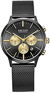 Watch Chronograph Waterproof Watch Unisex's Stainless Steel Mesh Wrist Watch, Fashion Watch (Color : Black)