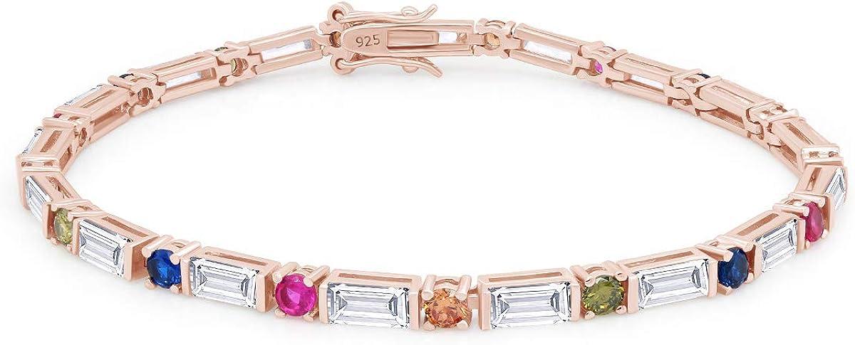 Multi Max 76% OFF Elegant Color Cubic Zirconia Tennis Bracelet 14k Ster Gold In Over