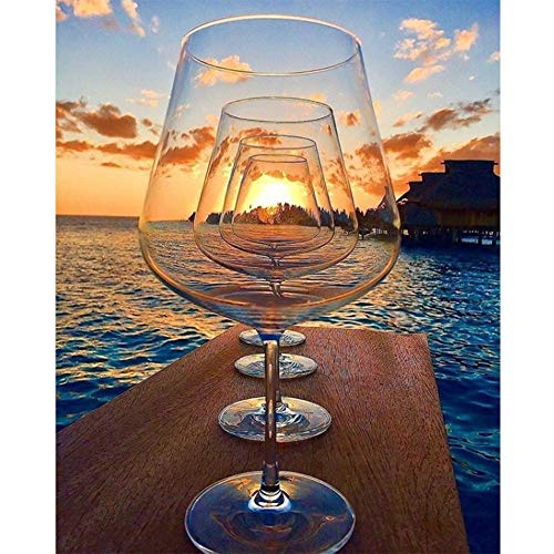 Full Round Drill Kits DIY Diamond Embroidery 5D Diamond Painting, Diamond Painting Sunset Wine Glasses Full Round Drill Wall Picture 30x40cm