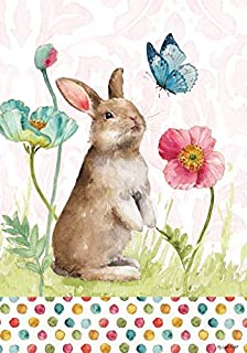 Custom Decor Bunny & Flowers - Happy Easter - Standard Size, 28 x 40 Inch, Decorative Double Sided, Licensed and Copyrighted Flag - Printed in The USA Inc.