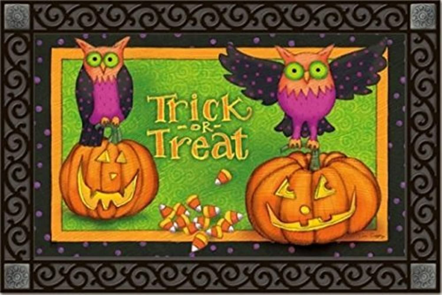 Trick or Treat Owls Halloween Doormat Indoor   Outdoor by MatMates 18  x 30