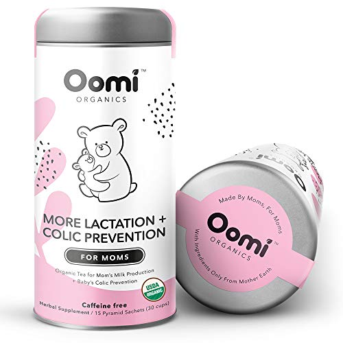 Lactation Tea by Oomi Organics - USDA Organic & Vegan - 30 Servings - Breastfeeding Support for Mom + Colic Prevention for Baby - Lactation Supplement for Increased Breast Milk - Fenugreek Free