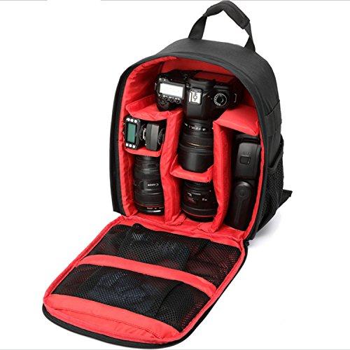 GXFLO DSLR Wanderrucksack, wasserdicht, stoßfest, Reise-Kamera, SLR Rucksack für Canon, Nikon, Sony, Samsung, Panasonic Kameras (herausnehmbar), rot