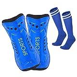 Lifreer Espinilleras de fútbol, espinilleras de fútbol, espinilleras para niños, calcetines de fútbol para niños y niñas, equipo protector de pantorrilla (azul) (S)