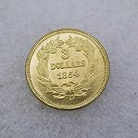 絶妙なコインアンティーク工芸品アメリカ18543ゴールドコインシルバーダラーシルバーラウンドコインコレクション