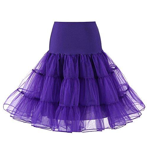 Xiangdanful Petticoat Unterrock Reifrock Damen Kurz Ballett Tanzkleid Ballkleid Underskirt Crinoline für Karneval Rockabily Vintage Tüllrock Skirt Midikleid Abendkleid Brautkleid (XL, Lila)