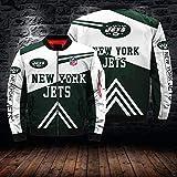 QWEIAS Chaqueta De Los Hombres De Ciclo Jersey-NFL New York Jets 3D Impreso Cremallera con Capucha Suéter Caliente Rugby Uniforme De Vuelo De Manga Larga Traje - Adolescente Regalo L