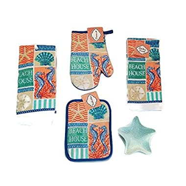 Coastal Theme Beach House 5-Piece Kitchen Bundle Set. 2 Hand Dish Towels, Oven Mitt, Pot Holder and Starfish Spoon Rest Color May Vary.