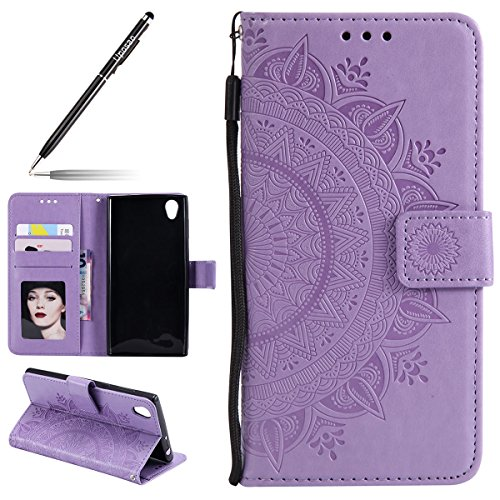 Uposao Kompatibel mit Sony Xperia L1 Handytasche Klappbar Flip Case Prägung Blumen Tasche Leder Brieftasche Lederhülle Leder Handy Schutzhülle Cover mit Magnetverschluss,Lila